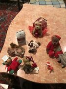 Lot Of Eight Christmas Stuffed Animals Boyds And More All Vintage