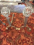 Arts And Crafts Hewn Andirons With Flowers In Vases Fireplace Accessories