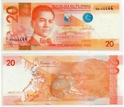 Philippines Nds 2020 20 Peso Bill Solid Gn444444 Duterte Diokno Unc