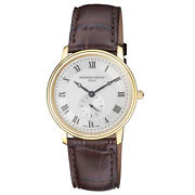 Frederique Constant Menand039s Fc-235m4s5 Slimline 37mm Silver Dial Leather Watch