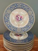 12 Royal Worcester Blue Turquoise H. Painted 10.75 Dinner Plates E. Phillips