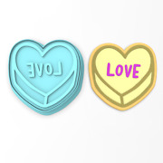 Love Valentine Candy Heart Cookie Cutter And Stamp   Valentines Day Humor