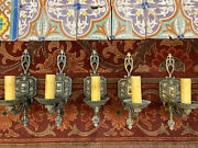 Detailed Spanish Sconces Set Of Five Single Candle Moe Brothers 1930