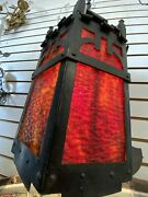 Old Gothic Spanish Revival Castle Style Pendant Light With Stained Glass