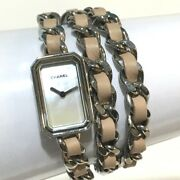 Premiere Lock Womenand039s Wristwatch Pink/silver Ss X Leather H4312
