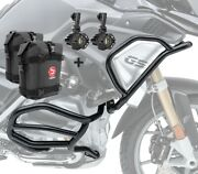 Set Engine Guard + Auxiliary Lights Xl4 For Bmw R 1200 Gs 17-18 + K3 Bk