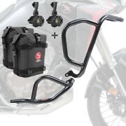 Set Engine Guard + Auxiliary Lights For Honda Africa Twin 1100 20-21 + K3 Bk