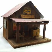 Handmade Wooden Antiques Store Lights Up Rustic Collectible 15 Inches Tall