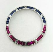14ktwg Diamond Andsynthetic Ruby And Sapphire Pepsi Bezel For Rolex Gmt Master 40mm