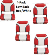 4-pack Red White Low-back Boat Seat Folding Vinyl Aluminum Hinges Quality Built