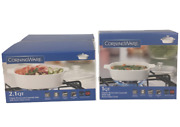 New Lot 2 Corningware Casserole Dishes 1l And 2l French White Square W/ Glass Lids