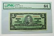 Canada Bc-21a 1937 1 S/n A/a 0000103 Pmg 64 Choice Unc. Ships To U.s Only
