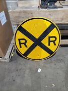 Railroad Crossing Round Yellow Metal Train Sign Man Cave Retired Road Street