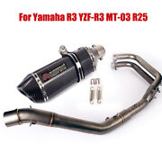 For Yamaha Yzf-r3 Mt-03 R25 Front Head Pipe Link Tube Slip Exhaust Muffler Tips