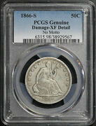 1866-s No Motto Seated Liberty Half Dollar Pcgs Xf Details Damaged