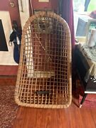 Original, Vintage Rattan Egg Chair/hanging Chair. With Spring And Chain. Great