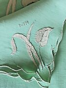 Antique Marghab Madeira Embroidered Placemats Napkins Runner Water Leaf Ww129