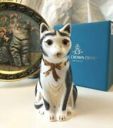 Royal Crown Derby Paper Weight Blackandwhite Mother Cat Gold Stopper