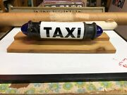 Vintage Milk Glass Taxi Cab Blue Glass Side Lights Old Truck Van Bus Display Wow