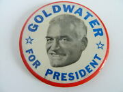 """Vintage Barry Goldwater For President Picture Button Pin 3 7/16"""""""