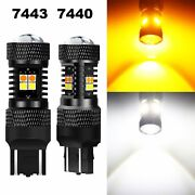 Jdm Astar 2x 1600lm 7443 7440 Dual Color Led Switchback Bulbs 16 Smd White Amber