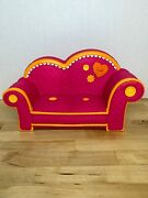 Retired Lalaloopsy Pink Couch W/ Orange Trim And Buttons /fits 2 Full Size Dolls