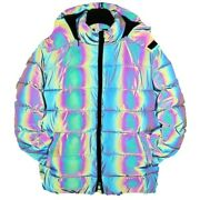 Menand039s Winter Quilted Jacket Colorful Reflective Hip Hop Street Hooded Jacket L