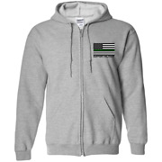 Support Military Thin Green Line American Flag Zip Up Hooded Sweatshirt