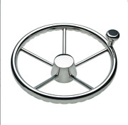 Boat Steering Wheel Stainless With Spinner Knob And Cap 13.5 5-spoke 3/4 Taper