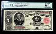 1891 Us 1 Treasury Note Fr 351 Currency Pmg Choice Unc 64 Epq