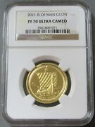 2011 Gold Isle Of Man Proof 1/2 Noble Ngc Pf 70 Ultra Cameo Only 1,000 Minted