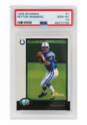 Peyton Manning Colts 1998 Bowman Football 1 Rc Rookie Card Psa 10 New Label