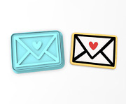 Envelope Heart Cookie Cutter And Stamp   Valentines Day Wedding Mail Love Letter