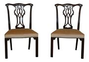 51131e Pair Baker Chippendale Style Mahogany Side Chairs