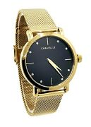 Caravelle By Bulova Womens 44l256 Stainless Steel Black Dial Mesh Watch