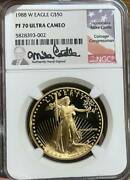 1988 W Proof American Gold Eagle 50 Ngc Pf 70 Ucam Mike Castle Signature