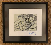 Happy Mickey Mouse And Pluto Mated, Mounted And Framed Signed Walt Disney Etching