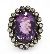 Antique Style Silver Topped 14k Yellow Gold Amethyst And Diamond Cocktail Ring