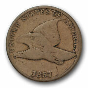 1857 Flying Eagle Cent Very Good Vg Us Coin Snow 9 Die Clash 10535