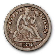 1849 O Seated Liberty Dime Very Fine To Extra Fine Large O Us 10c Coin 108