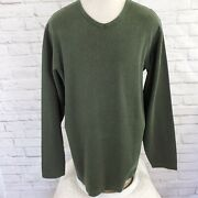 Eddie Bauer V Neck Pullover Green Thin Black Stripes Long Sleeve Soft Large Tall
