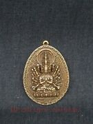 Unique Collection Old China Copper Carving Avalokitesvara Statue Amulet Pendant