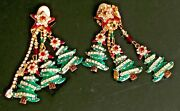 Vintage Christmas Earrings Lunch At The Ritz Deck The Halls Xmas Tree Crystal