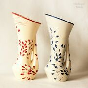Pair Of French Vintage Art Pottery Hand Decorated Ceramic Vases In Red And Blue