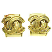 Cc Logos Charm Earrings Clip-on Gold-tone Accessories 94p 37990