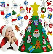 3d Diy Felt Christmas Tree 26 Ornaments With Gold Star Topper Kids Decorations