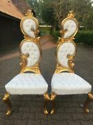 Italian Baroque White Leather And Gold Leaf Finish Chairs- A Pair