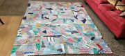 Antique Vintage Early 1900s Crazy Quilt Top 72 X 90 Handmade