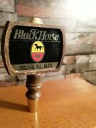 Vintage Black Horse Beer Tap Very Rare Wood 5 Double Sided