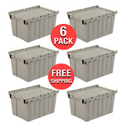 6-pack Plastic Storage Container Organizer Shipping Tote Stackable Bins W/ Lid